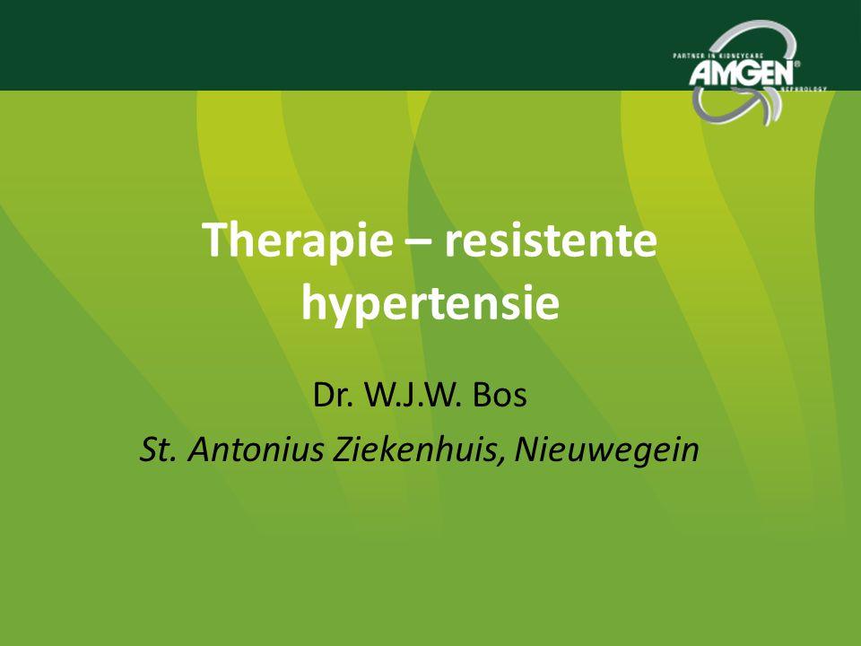 Therapie Resistente Hypertensie 1.Definitie: Hypertensie (>140/90) ondanks - 3 medicamenten - Life style maatregelen 2.