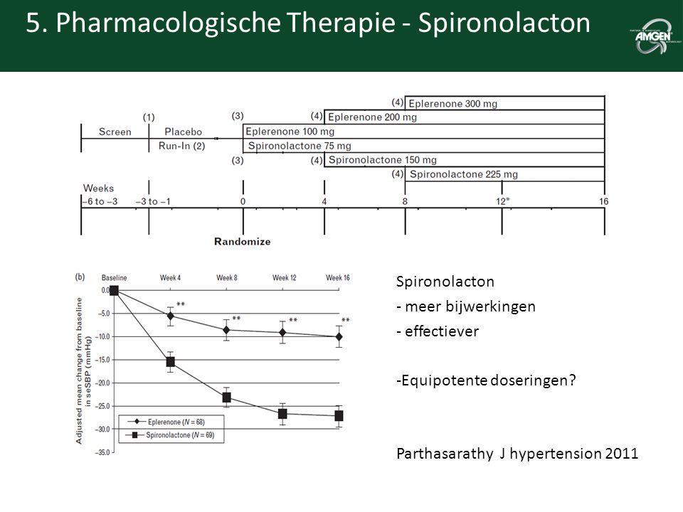 5. Pharmacologische Therapie - Spironolacton Spironolacton - meer bijwerkingen - effectiever -Equipotente doseringen? Parthasarathy J hypertension 201