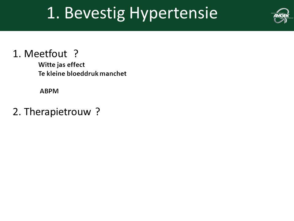 1. Bevestig Hypertensie 1. Meetfout ? Witte jas effect Te kleine bloeddruk manchet ABPM 2. Therapietrouw ?