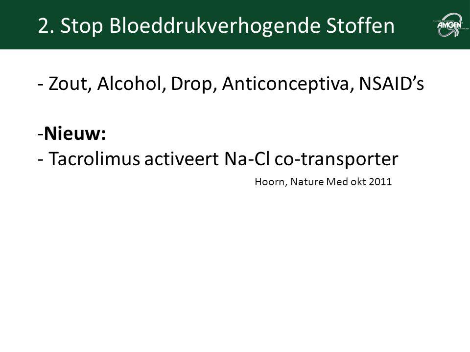 2. Stop Bloeddrukverhogende Stoffen - Zout, Alcohol, Drop, Anticonceptiva, NSAID's -Nieuw: - Tacrolimus activeert Na-Cl co-transporter Hoorn, Nature M