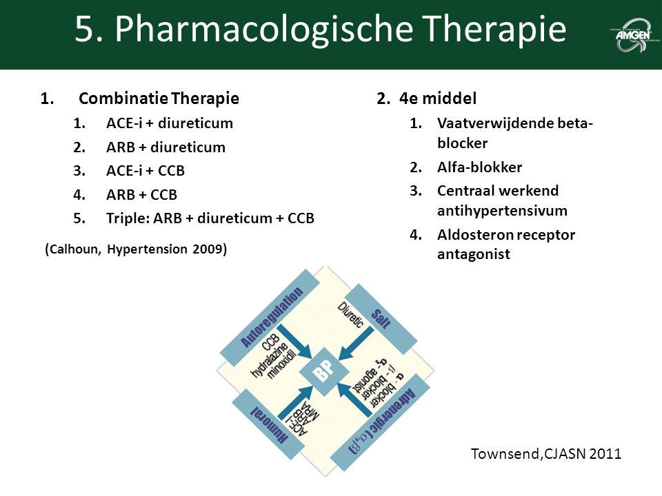 5. Pharmacologische Therapie 1.Combinatie Therapie 1.ACE-i + diureticum 2.ARB + diureticum 3.ACE-i + CCB 4.ARB + CCB 5.Triple: ARB + diureticum + CCB