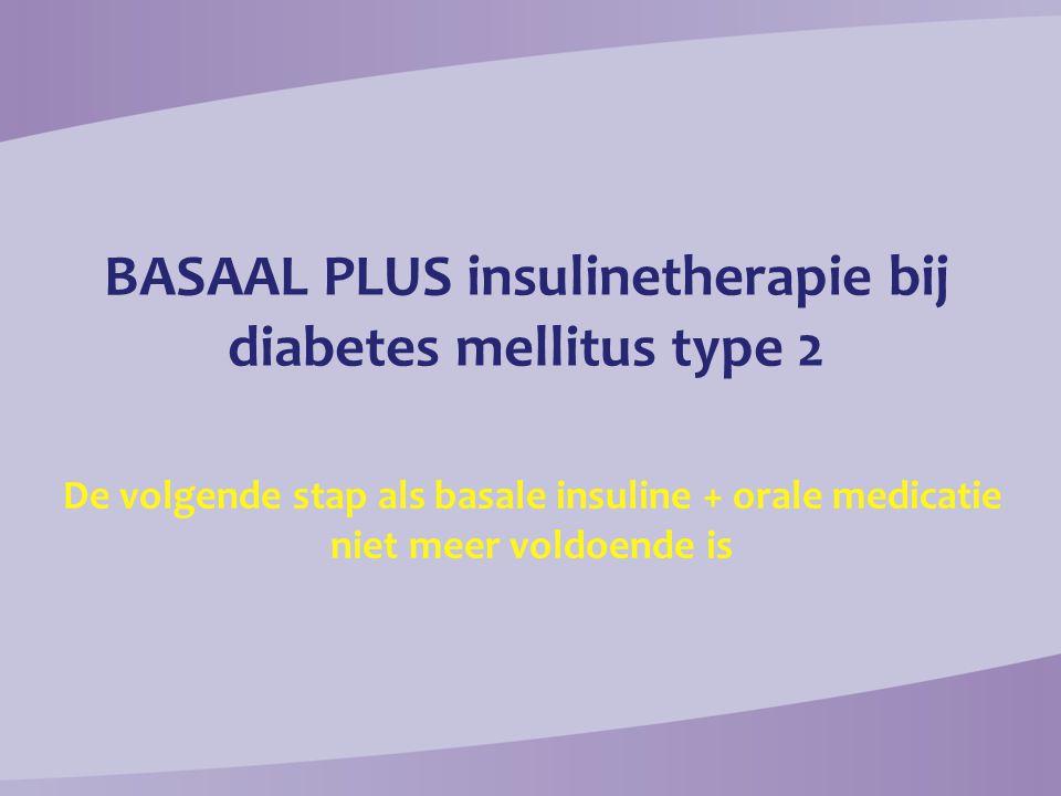 Controleer (dagelijks) nuchter glucose en verhoog de dosering met 2 E per 3 dagen tot titratiedoel van 3,9-7,2 mmol/L BG voor diner te hoog: + snelwerkend insuline bij lunch (start ± 4E en + 2E / 3d) BG voor lunch te hoog: + snelwerkend insuline bij ontbijt (start ± 4E en + 2E /3d) BG voor slapen te hoog: + snelwerkend insuline bij diner (start ± 4E en + 2E / 3d) HbA1c  7% Metformine + bewegen / dieet Toevoegen 10 E middellangwerkend basale insuline ´s avonds of 10 E langwerkend basale insuline ´s ochtends of ´s avonds HbA1c < 7% na 2-3 maanden.