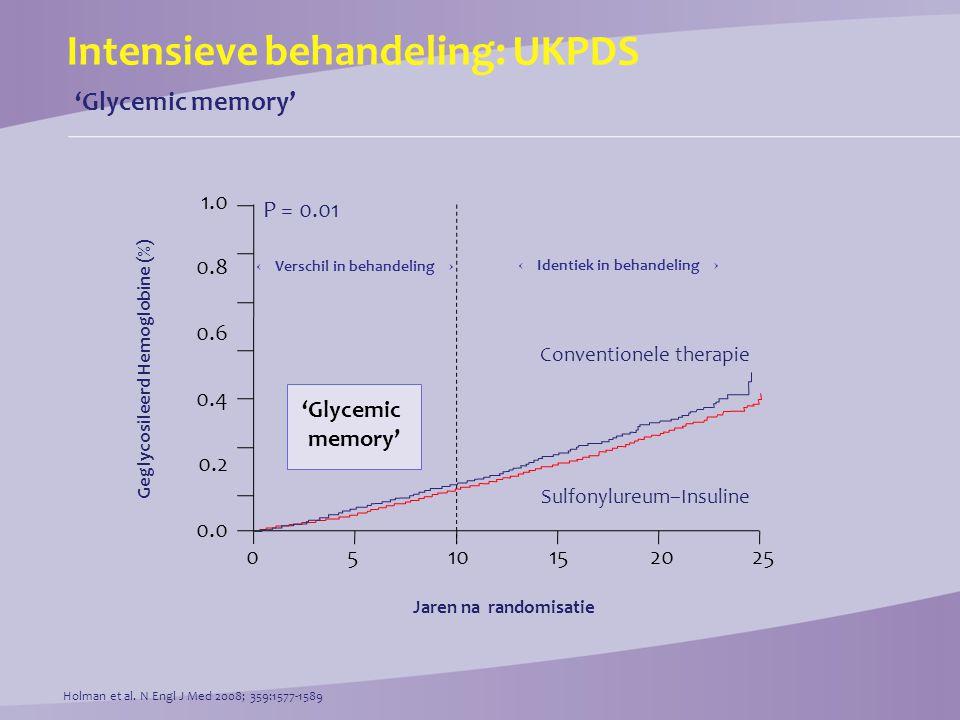 Intensieve behandeling: ADVANCE 'Glycemic memory' Macrovasculaire events in voorgeschiedenis –NEE  relatieve risicoreductie 14% (CI [4 – 23]) –JA  relatieve risicoreductie 4% (CI [–10 – 16]) Microvasculaire events in voorgeschiedenis: –NEE  relatieve risicoreductie 11% (CI [2 – 19]) –JA  relatieve risicoreductie 4% (CI [–16 – 21]) Patel et al.N Engl J Med 2008; 358:2560-2572