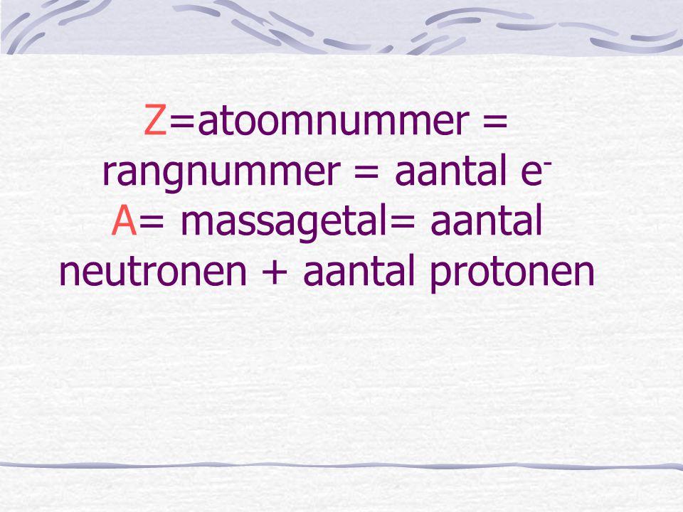 Z=atoomnummer = rangnummer = aantal e - A= massagetal= aantal neutronen + aantal protonen