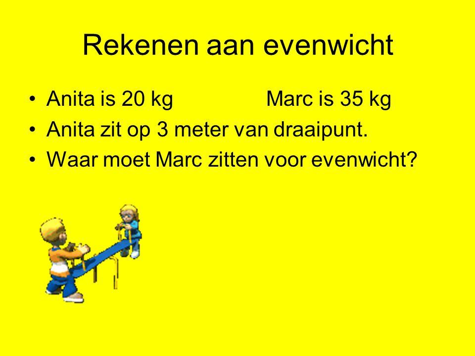 Rekenen aan evenwicht Anita is 20 kgMarc is 35 kg Anita zit op 3 meter van draaipunt. Waar moet Marc zitten voor evenwicht?