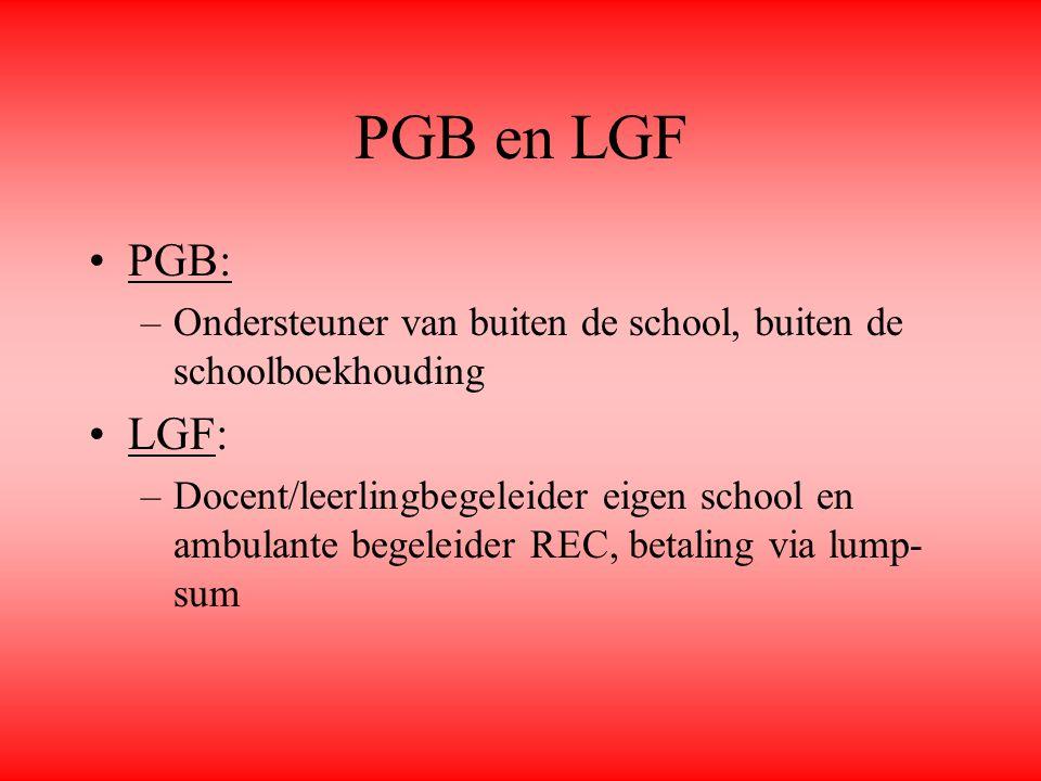 PGB en LGF PGB: –Ondersteuner van buiten de school, buiten de schoolboekhouding LGF: –Docent/leerlingbegeleider eigen school en ambulante begeleider R