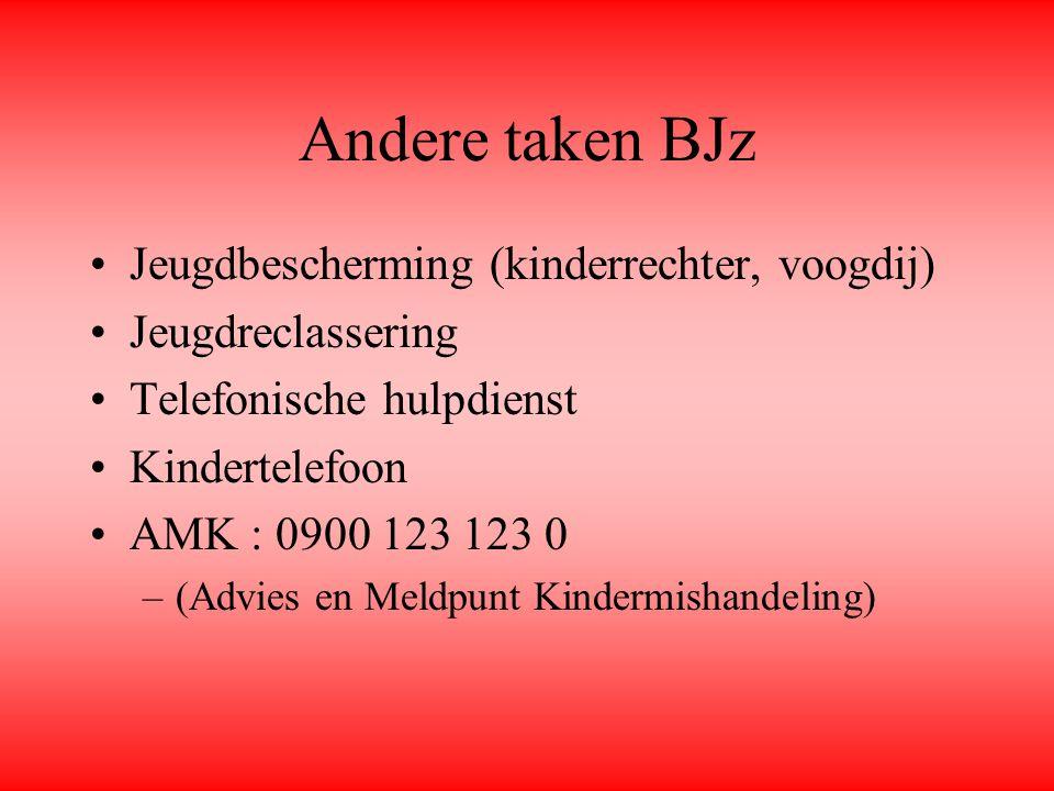 Andere taken BJz Jeugdbescherming (kinderrechter, voogdij) Jeugdreclassering Telefonische hulpdienst Kindertelefoon AMK : 0900 123 123 0 –(Advies en M