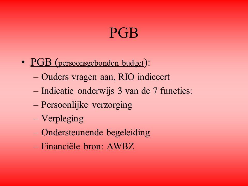 PGB PGB ( persoonsgebonden budget ): –Ouders vragen aan, RIO indiceert –Indicatie onderwijs 3 van de 7 functies: –Persoonlijke verzorging –Verpleging