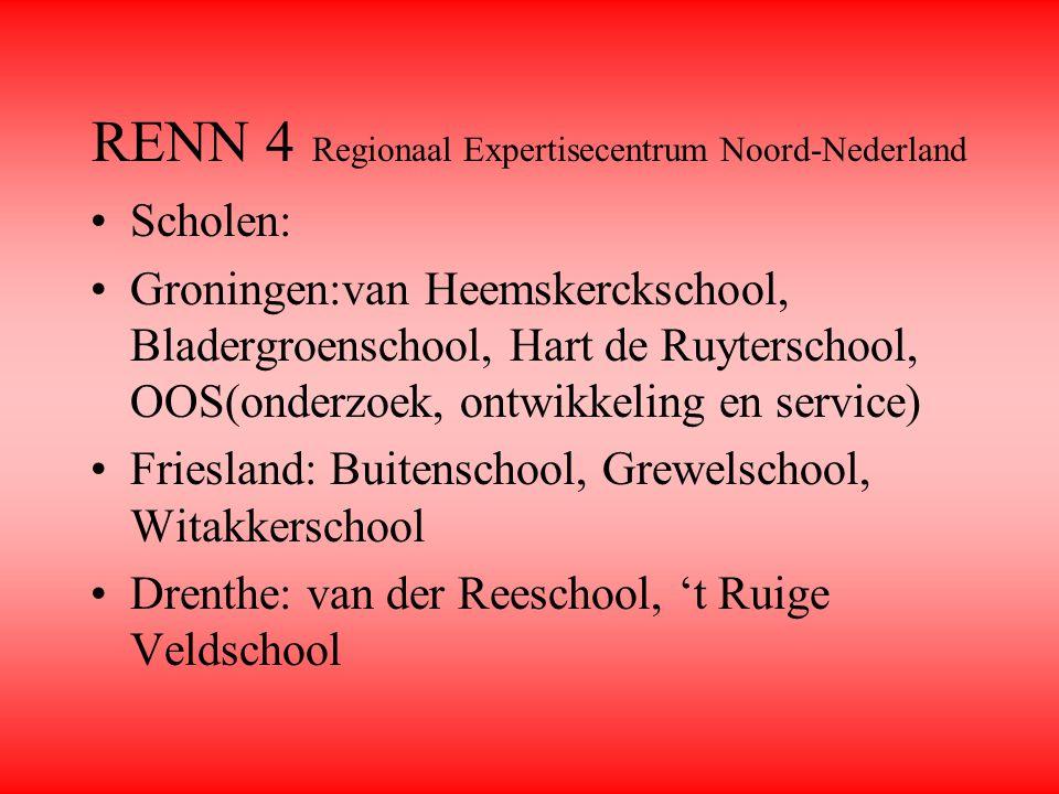RENN 4 Regionaal Expertisecentrum Noord-Nederland Scholen: Groningen:van Heemskerckschool, Bladergroenschool, Hart de Ruyterschool, OOS(onderzoek, ont