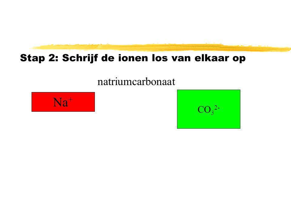 Stap 1: Schrijf de naam van het zout op natriumcarbonaat