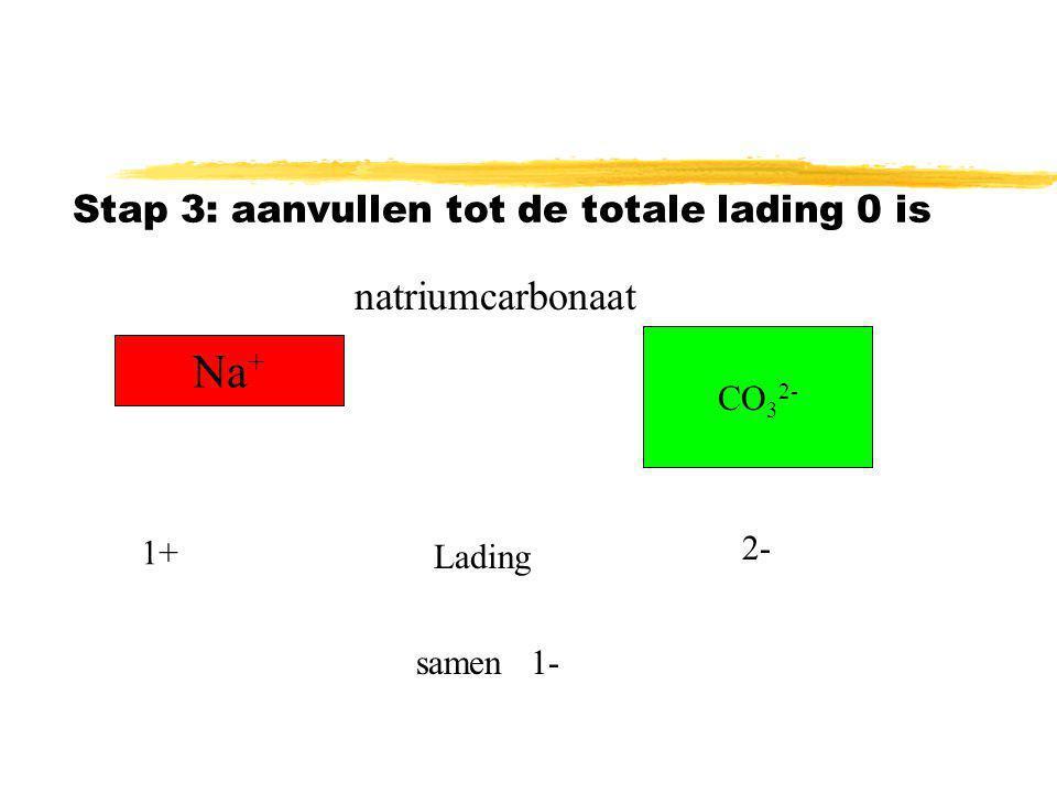 Stap 2: Schrijf de ionen los van elkaar op Na + CO 3 2- natriumcarbonaat