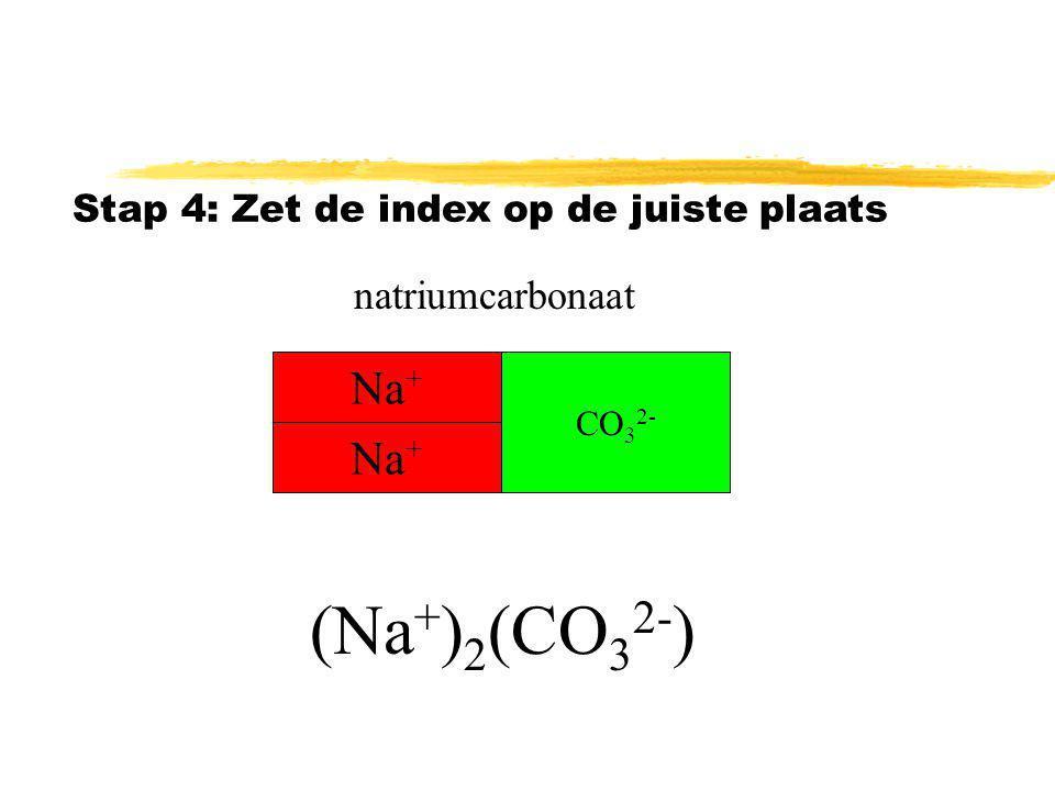 Stap 3: ion aanvullen tot de lading 0 is Lading 2+ 2- samen0 natriumcarbonaat Na + CO 3 2- Na +