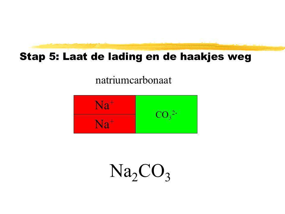 Stap 4: Zet de index op de juiste plaats natriumcarbonaat (Na + ) 2 (CO 3 2- ) Na + CO 3 2- Na +