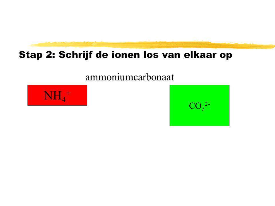 Stap 2: Schrijf de ionen los van elkaar op NH 4 + CO 3 2- ammoniumcarbonaat