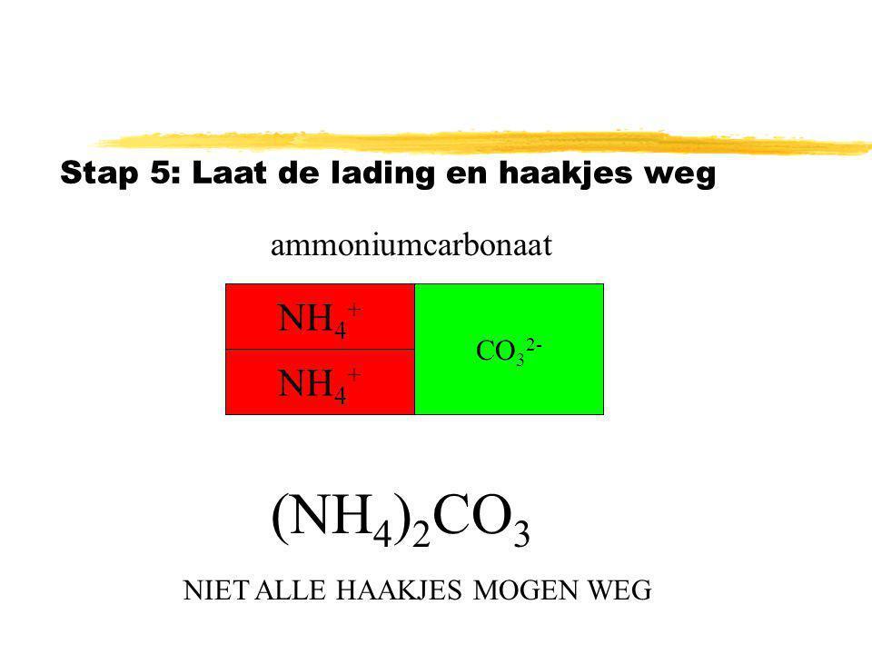 Stap 5: Laat de lading en haakjes weg (NH 4 ) 2 CO 3 NH 4 + CO 3 2- ammoniumcarbonaat NH 4 + NIET ALLE HAAKJES MOGEN WEG