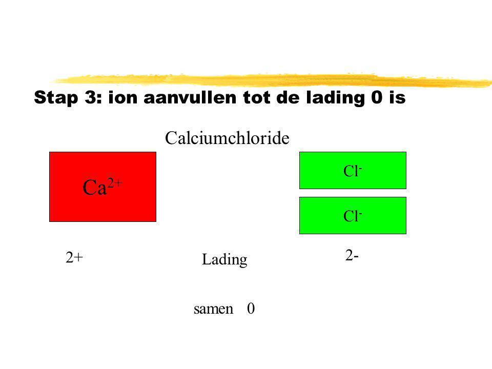 Stap 3: aanvullen tot de totale lading 0 is Ca 2+ Cl - Lading 2+ 1- samen1+ Calciumchloride