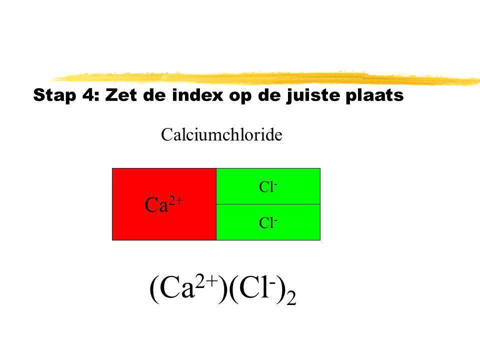 Stap 3: ion aanvullen tot de lading 0 is Ca 2+ Cl - Lading 2+ 2- samen0 Cl - Calciumchloride