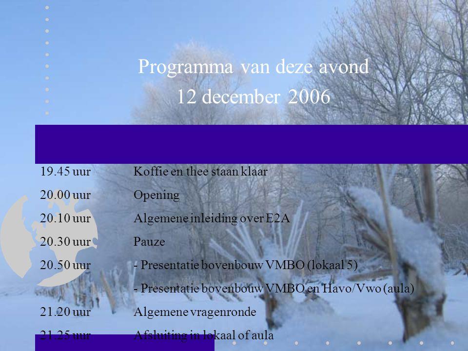 Programma van deze avond 12 december 2006 19.45 uur Koffie en thee staan klaar 20.00 uurOpening 20.10 uurAlgemene inleiding over E2A 20.30 uurPauze 20