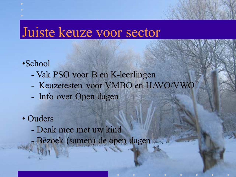 Juiste keuze voor sector School - Vak PSO voor B en K-leerlingen - Keuzetesten voor VMBO en HAVO/VWO - Info over Open dagen Ouders - Denk mee met uw k