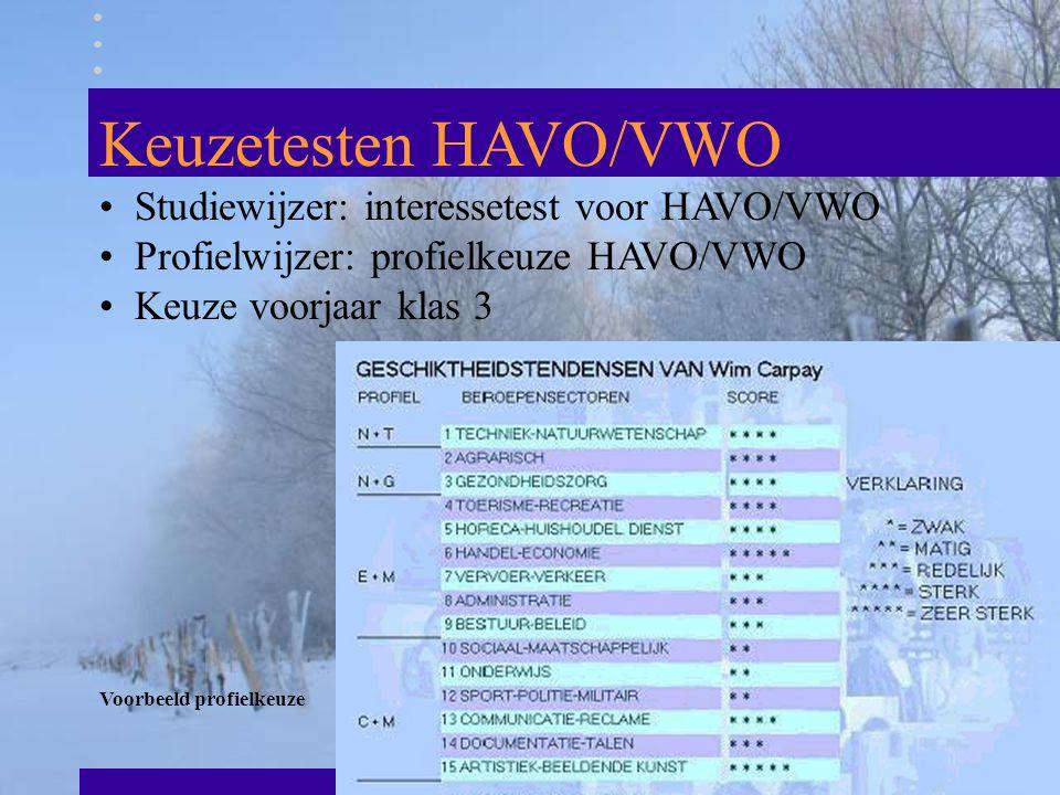 Keuzetesten HAVO/VWO Studiewijzer: interessetest voor HAVO/VWO Profielwijzer: profielkeuze HAVO/VWO Keuze voorjaar klas 3 Voorbeeld profielkeuze