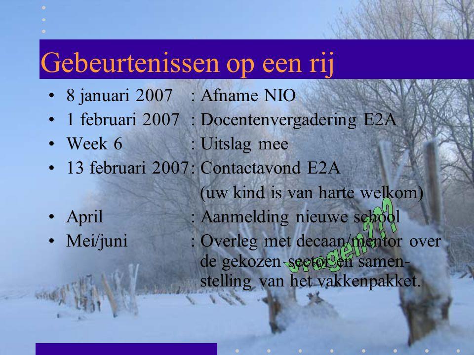 Gebeurtenissen op een rij 8 januari 2007 : Afname NIO 1 februari 2007: Docentenvergadering E2A Week 6: Uitslag mee 13 februari 2007: Contactavond E2A