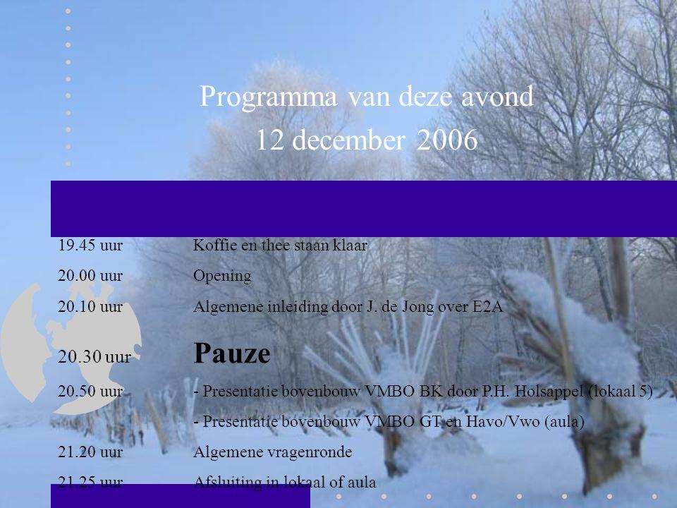 Programma van deze avond 12 december 2006 19.45 uur Koffie en thee staan klaar 20.00 uurOpening 20.10 uurAlgemene inleiding door J. de Jong over E2A 2