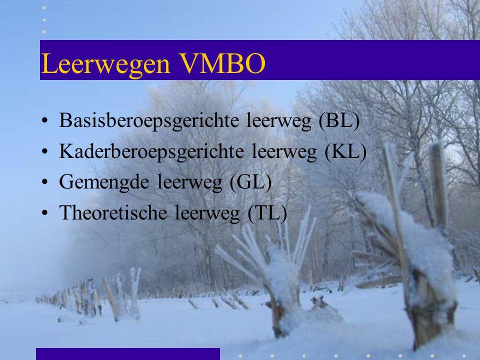 Leerwegen VMBO Basisberoepsgerichte leerweg (BL) Kaderberoepsgerichte leerweg (KL) Gemengde leerweg (GL) Theoretische leerweg (TL)