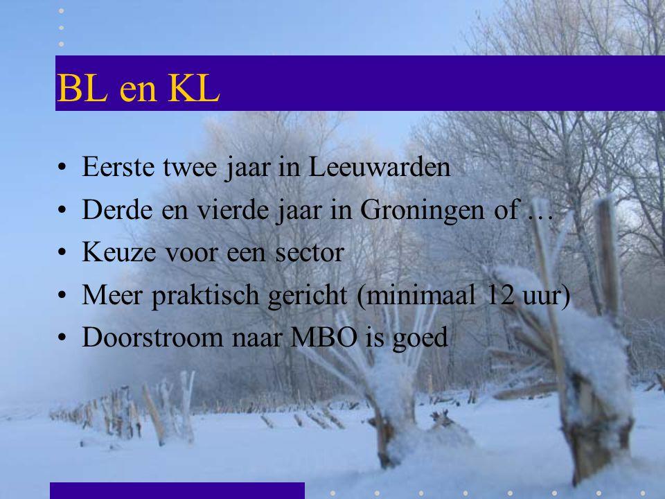 BL en KL Eerste twee jaar in Leeuwarden Derde en vierde jaar in Groningen of … Keuze voor een sector Meer praktisch gericht (minimaal 12 uur) Doorstro