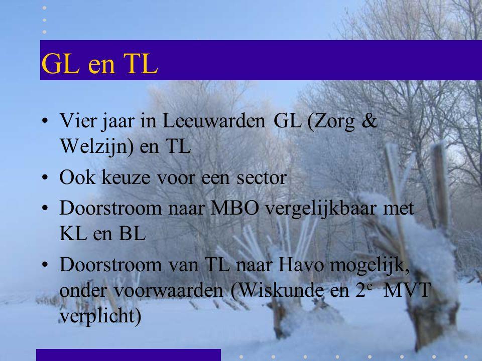 GL en TL Vier jaar in Leeuwarden GL (Zorg & Welzijn) en TL Ook keuze voor een sector Doorstroom naar MBO vergelijkbaar met KL en BL Doorstroom van TL