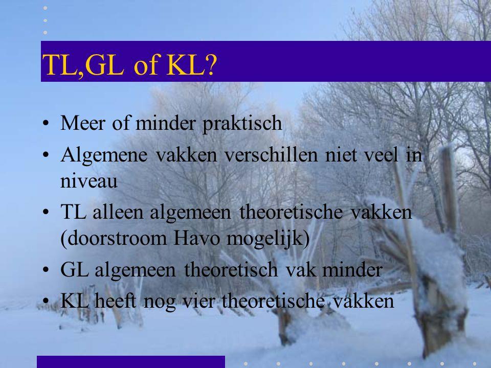 TL,GL of KL? Meer of minder praktisch Algemene vakken verschillen niet veel in niveau TL alleen algemeen theoretische vakken (doorstroom Havo mogelijk