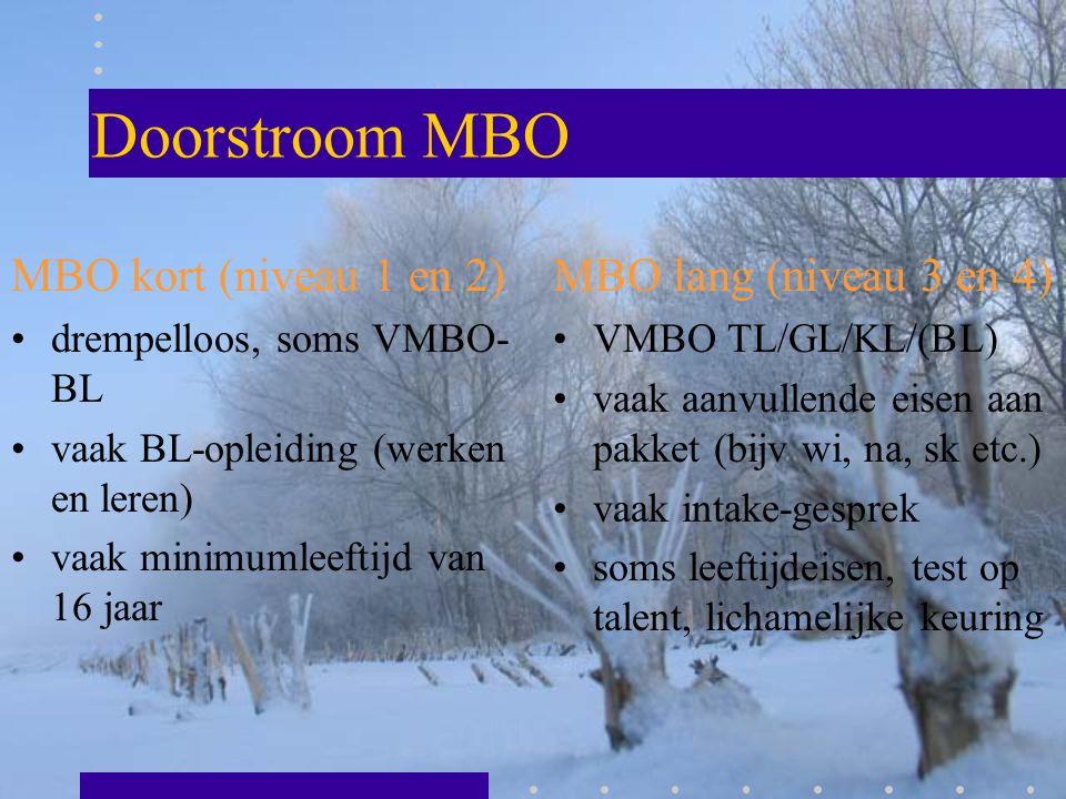 Doorstroom MBO MBO kort (niveau 1 en 2) drempelloos, soms VMBO- BL vaak BL-opleiding (werken en leren) vaak minimumleeftijd van 16 jaar MBO lang (nive