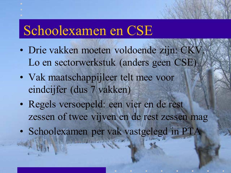 Schoolexamen en CSE Drie vakken moeten voldoende zijn: CKV, Lo en sectorwerkstuk (anders geen CSE) Vak maatschappijleer telt mee voor eindcijfer (dus