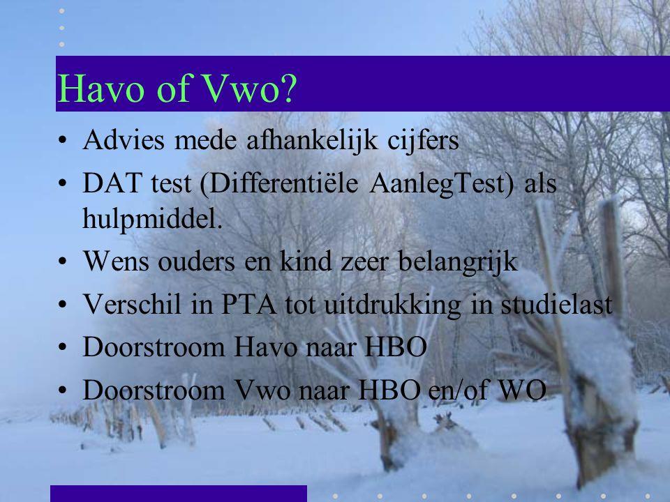 Havo of Vwo? Advies mede afhankelijk cijfers DAT test (Differentiële AanlegTest) als hulpmiddel. Wens ouders en kind zeer belangrijk Verschil in PTA t