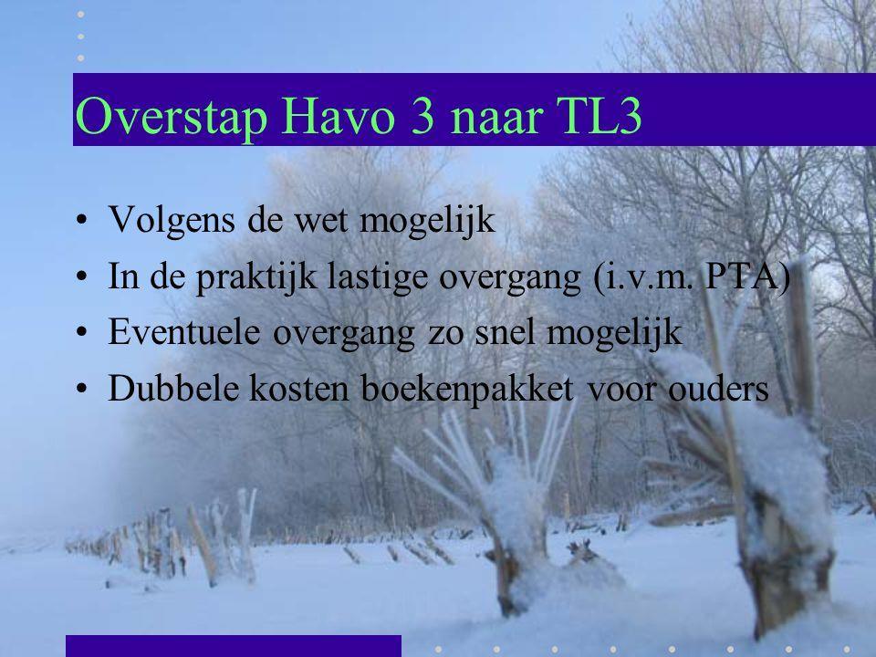 Overstap Havo 3 naar TL3 Volgens de wet mogelijk In de praktijk lastige overgang (i.v.m. PTA) Eventuele overgang zo snel mogelijk Dubbele kosten boeke