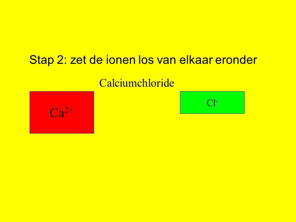 Stap 2: zet de ionen los van elkaar eronder Ca 2+ Cl - Calciumchloride