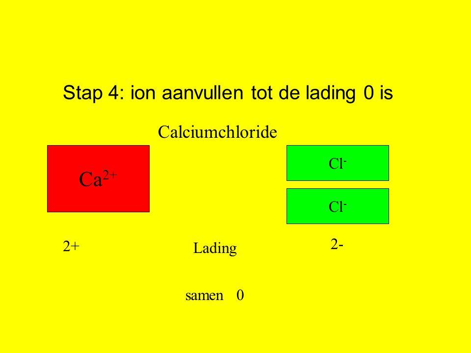 Stap 4: ion aanvullen tot de lading 0 is Ca 2+ Cl - Lading 2+ 2- samen0 Cl - Calciumchloride