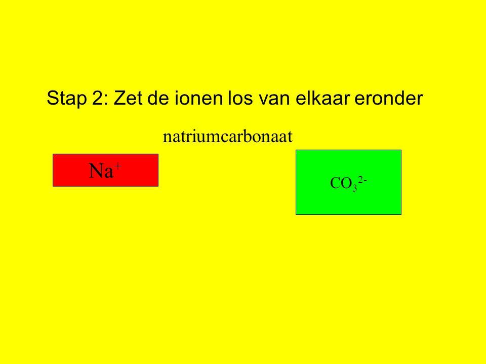 Stap 2: Zet de ionen los van elkaar eronder Na + CO 3 2- natriumcarbonaat