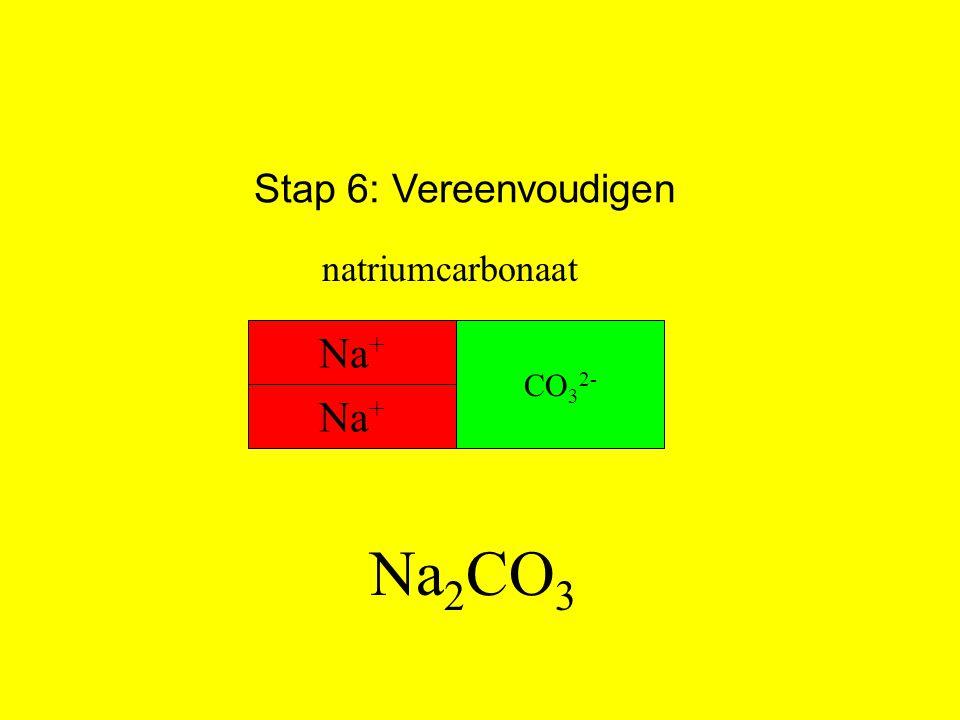 Stap 6: Vereenvoudigen Na 2 CO 3 natriumcarbonaat Na + CO 3 2- Na +