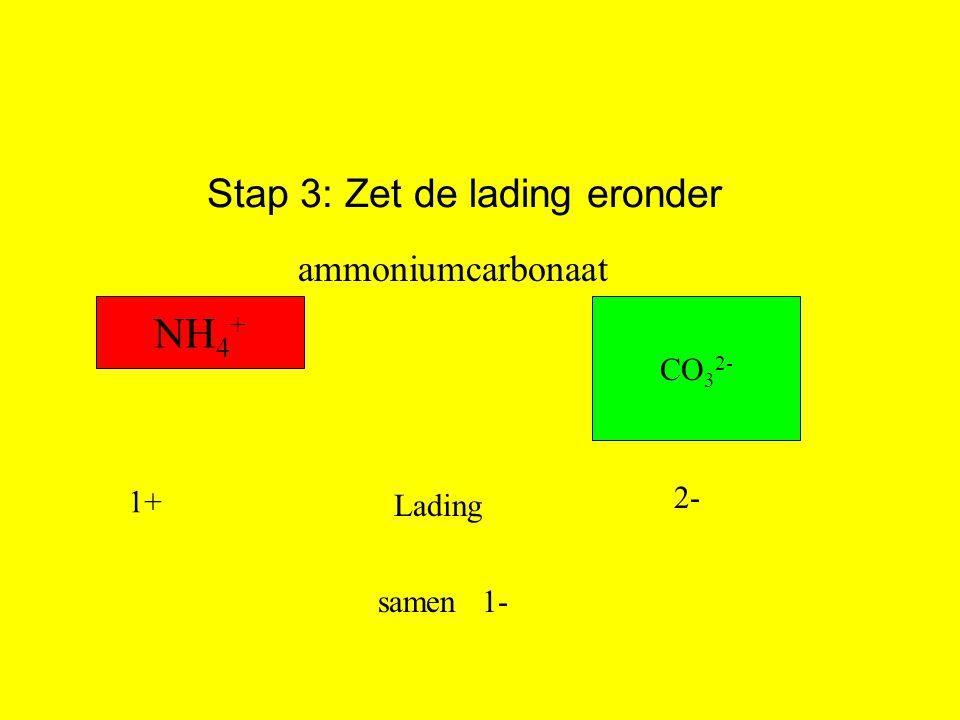 Stap 3: Zet de lading eronder Lading 1+ 2- samen1- NH 4 + CO 3 2- ammoniumcarbonaat