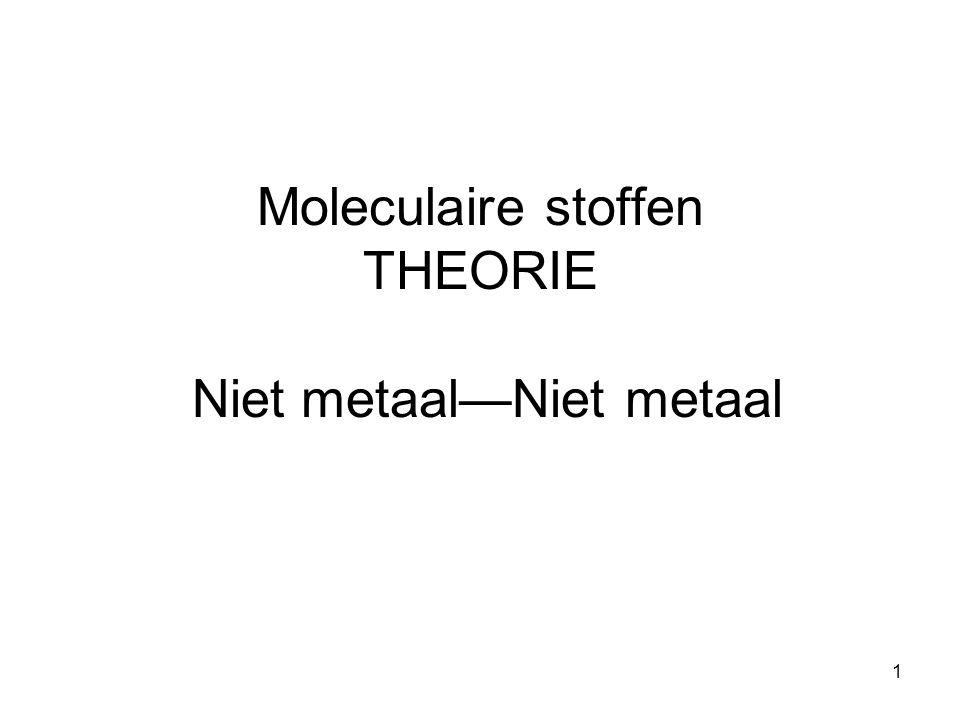 1 Moleculaire stoffen THEORIE Niet metaal—Niet metaal