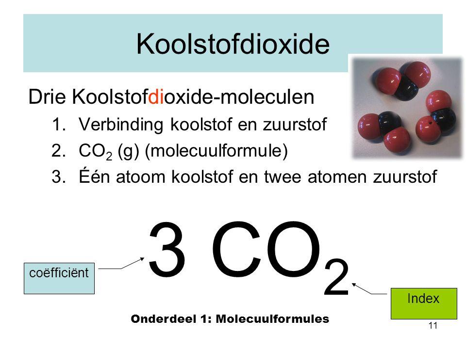 11 Koolstofdioxide Drie Koolstofdioxide-moleculen 1.Verbinding koolstof en zuurstof 2.CO 2 (g) (molecuulformule) 3.Één atoom koolstof en twee atomen z