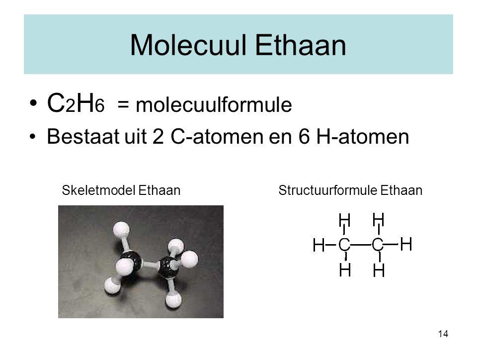 14 Molecuul Ethaan C 2 H 6 = molecuulformule Bestaat uit 2 C-atomen en 6 H-atomen Skeletmodel Ethaan Structuurformule Ethaan