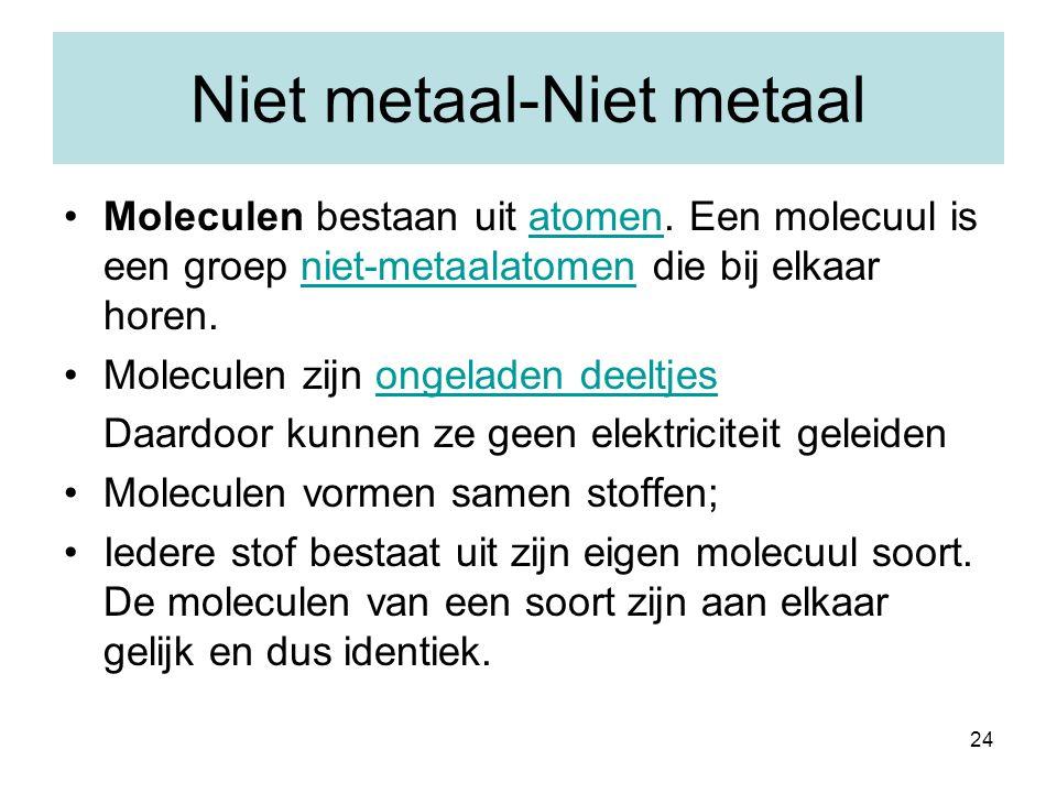 24 Niet metaal-Niet metaal Moleculen bestaan uit atomen. Een molecuul is een groep niet-metaalatomen die bij elkaar horen.atomenniet-metaalatomen Mole