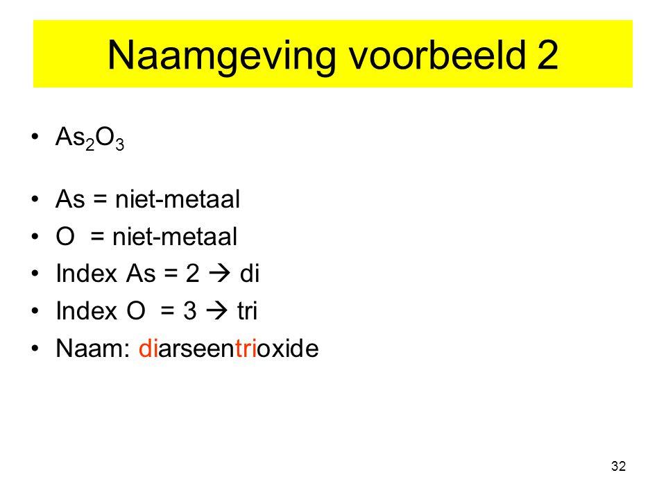 32 Naamgeving voorbeeld 2 As 2 O 3 As = niet-metaal O = niet-metaal Index As = 2  di Index O = 3  tri Naam: diarseentrioxide