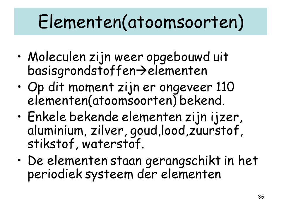 35 Elementen(atoomsoorten) Moleculen zijn weer opgebouwd uit basisgrondstoffen  elementen Op dit moment zijn er ongeveer 110 elementen(atoomsoorten)
