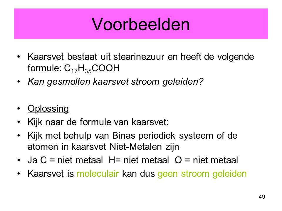 49 Voorbeelden Kaarsvet bestaat uit stearinezuur en heeft de volgende formule: C 17 H 35 COOH Kan gesmolten kaarsvet stroom geleiden? Oplossing Kijk n