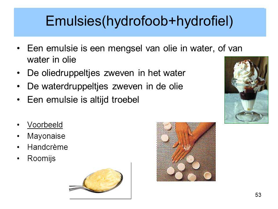 53 Een emulsie is een mengsel van olie in water, of van water in olie De oliedruppeltjes zweven in het water De waterdruppeltjes zweven in de olie Een