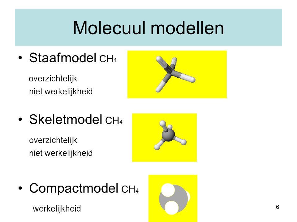 6 Molecuul modellen Staafmodel CH 4 overzichtelijk niet werkelijkheid Skeletmodel CH 4 overzichtelijk niet werkelijkheid Compactmodel CH 4 werkelijkhe