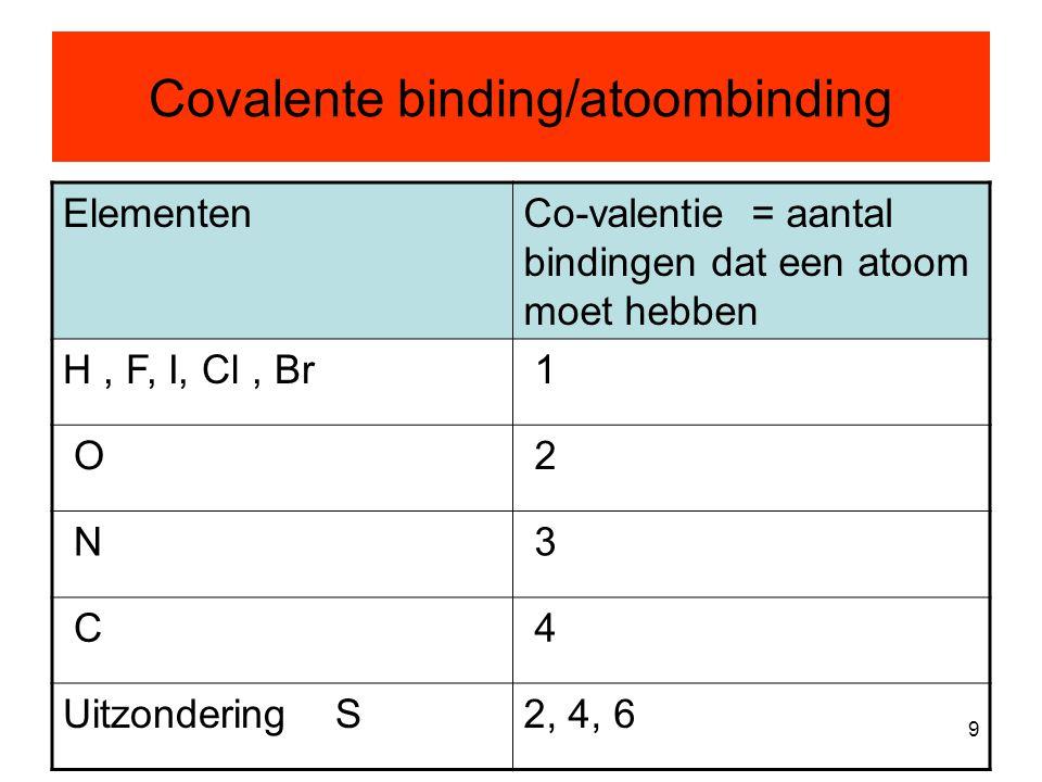 9 Covalente binding/atoombinding ElementenCo-valentie = aantal bindingen dat een atoom moet hebben H, F, I, Cl, Br 1 O 2 N 3 C 4 Uitzondering S2, 4, 6