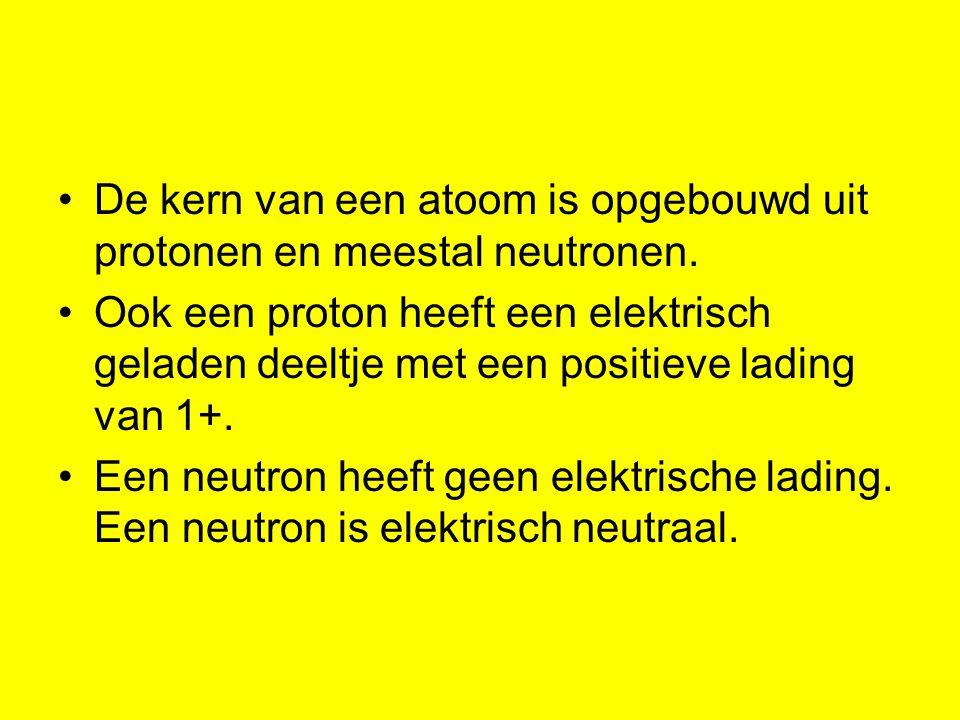 De kern van een atoom is opgebouwd uit protonen en meestal neutronen. Ook een proton heeft een elektrisch geladen deeltje met een positieve lading van